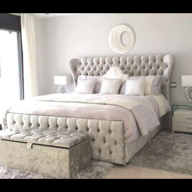Cream crush velvet bed