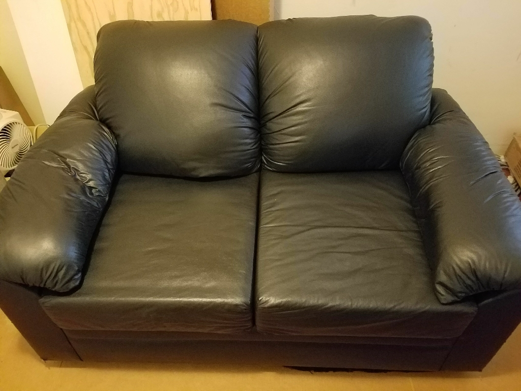 Black Vinyl Leather Love Seat