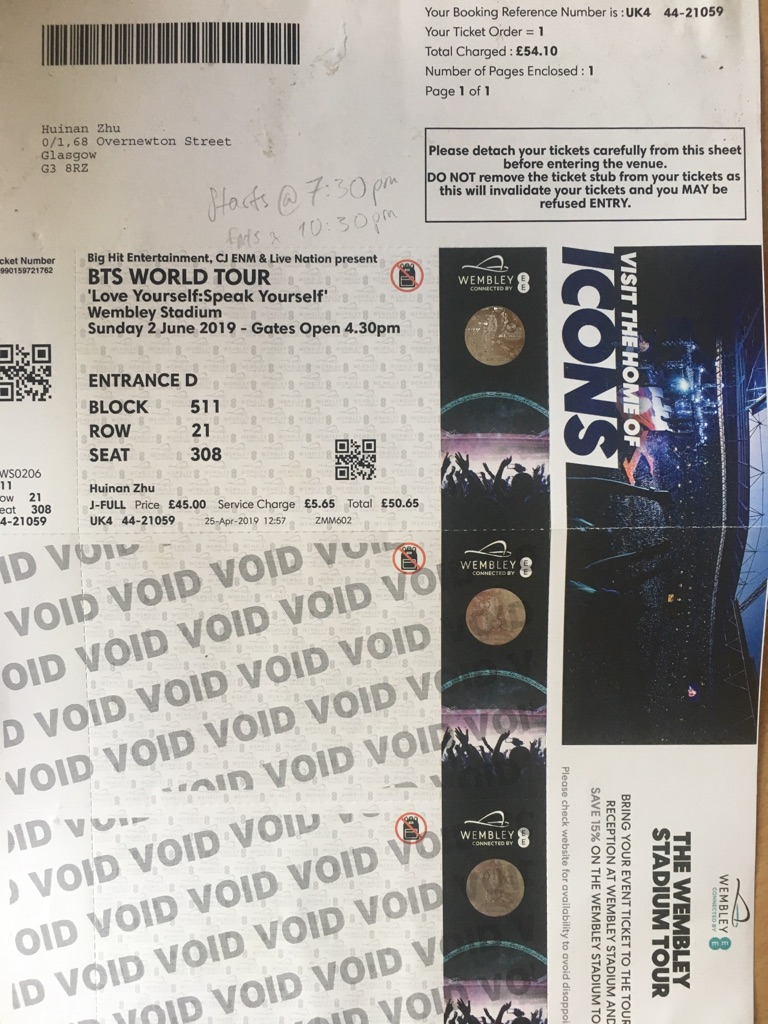 BTS Wembley Stadium 2nd June Block511 Row 21 Seat308