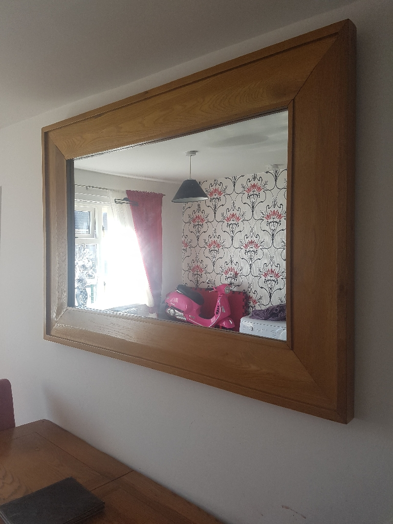 Solid oak table and mirror