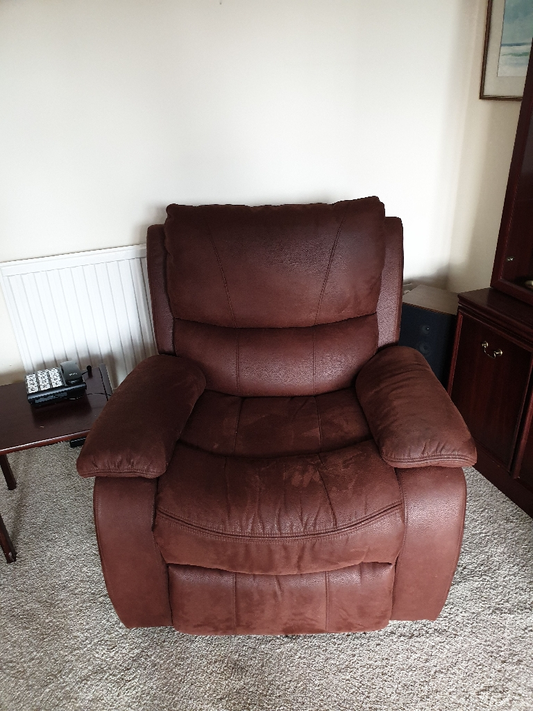 Brown suede recliner sofa and arm chair