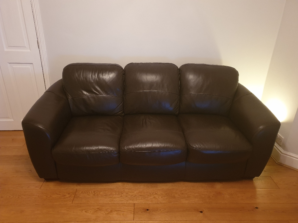 £65 3 seater brown leather sofa