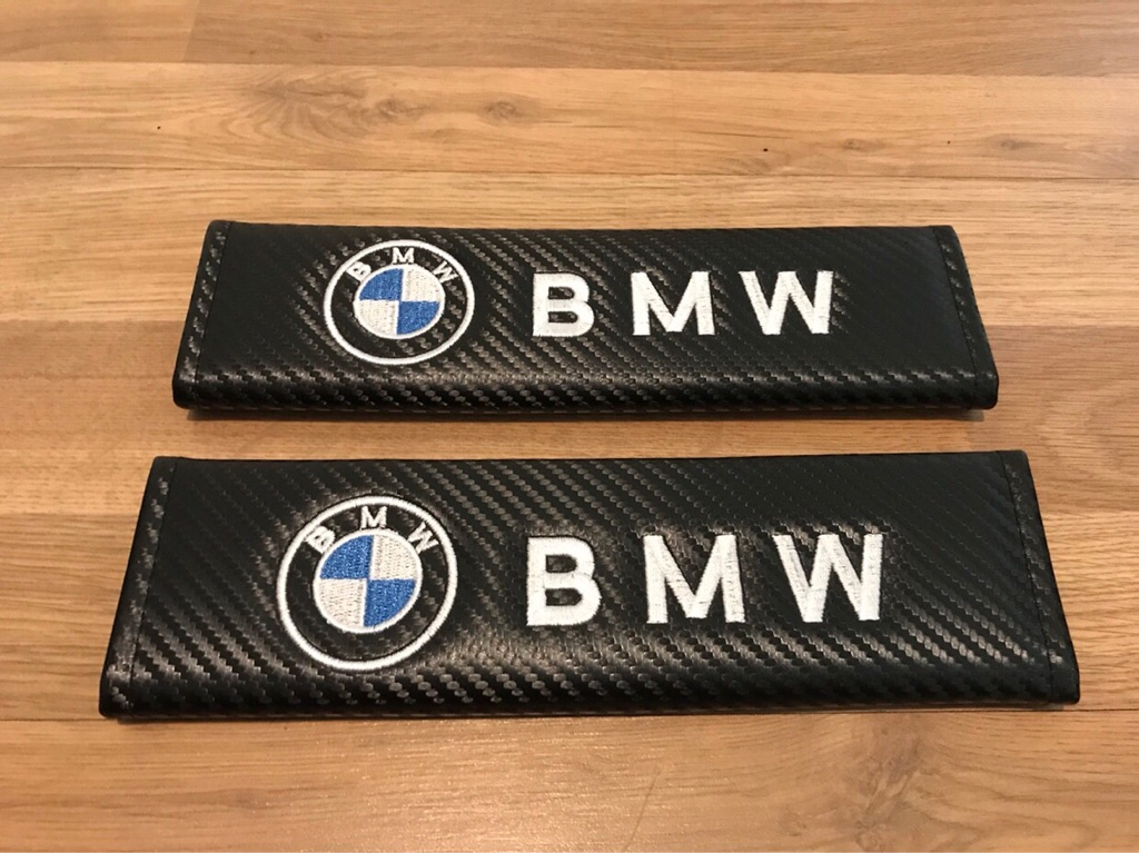 2X Seat Belt Pads Carbon Gifts BMW 1 2 3 4 5 6 7 Series M3 M4 M5 Z4 X5 X6 X3 X1 X2 X4 Sport Alpina Turbo Tuning