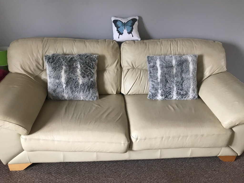 Cream leather 3 seater sofa and large chair