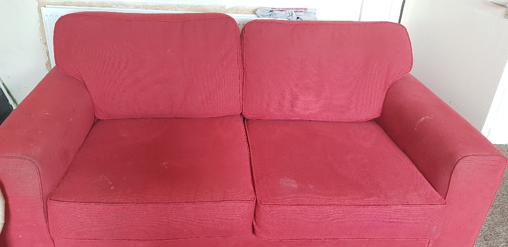 2 seater bed seatie red and 2 seater cream