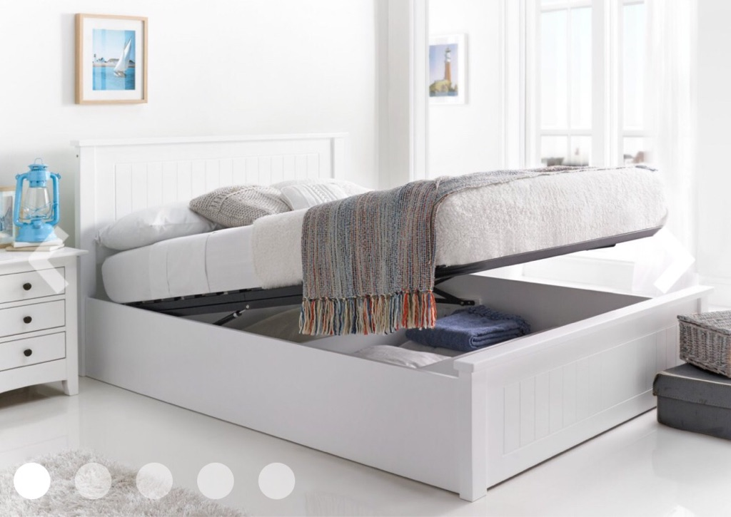 Beautiful White Wooden Ottoman Storage King size Bed