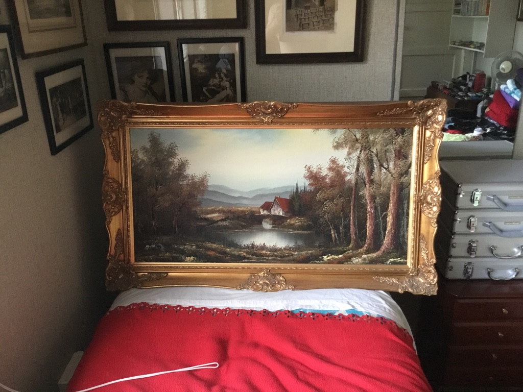 Vintage large landscape oil on canvas 3ft 6in x 2ft VGC