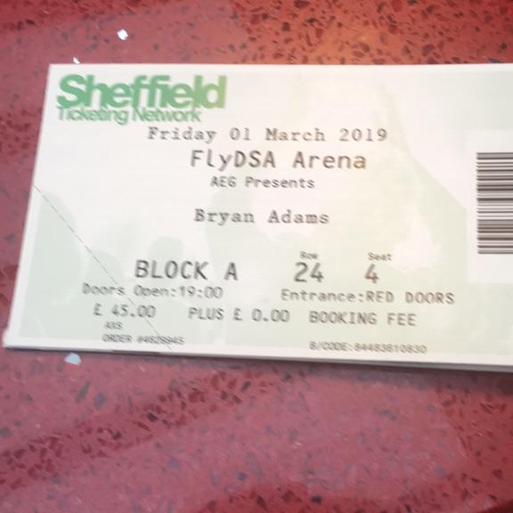 Bryan Adams ticket tonight in Sheffield