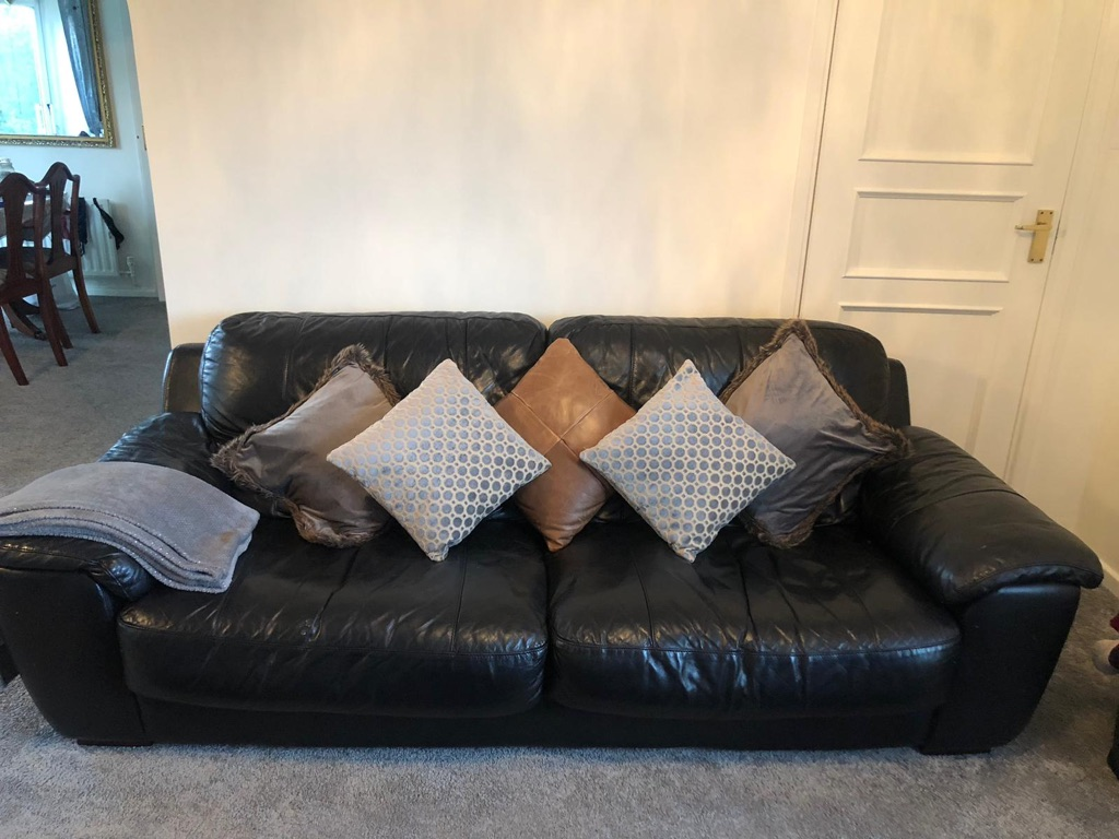 Black Leather Matching Large Sofa, 2 Armchairs and Footstool