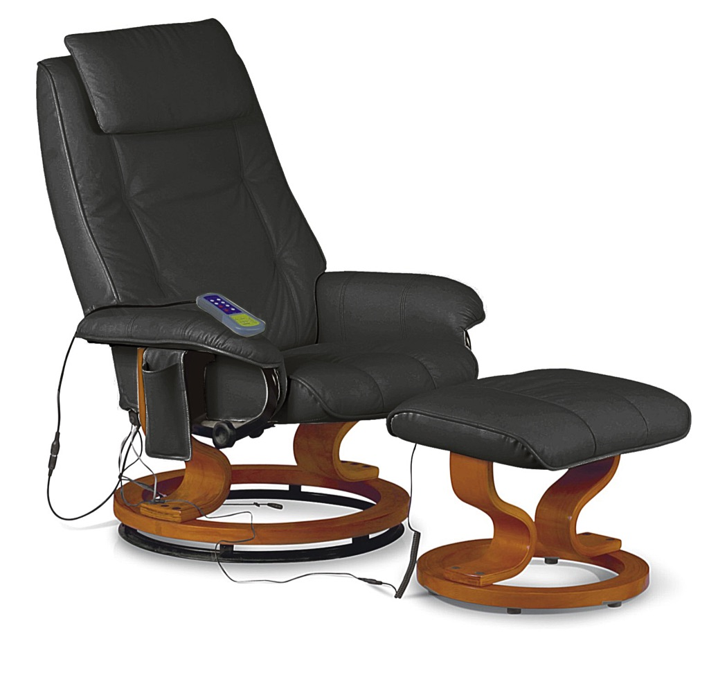 PU Reclining Massaging Chair with Footstool Black, Brown or Cream
