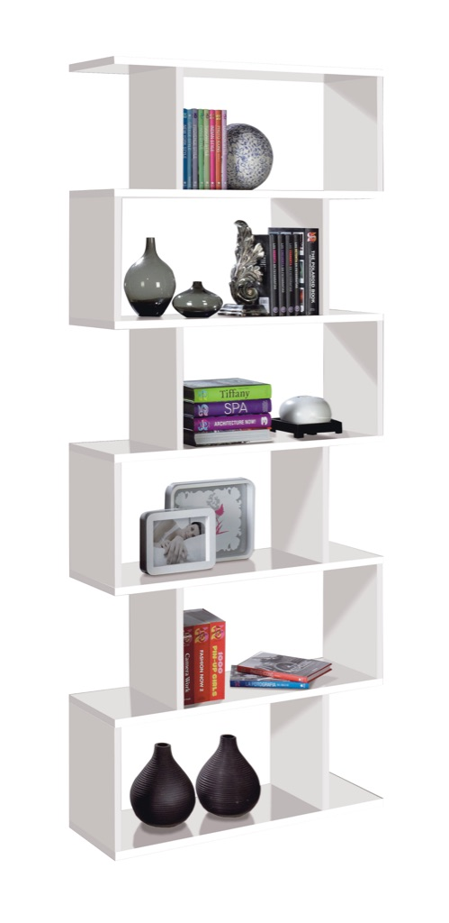 High Shine White Tall Bookcase with 6 Shelves