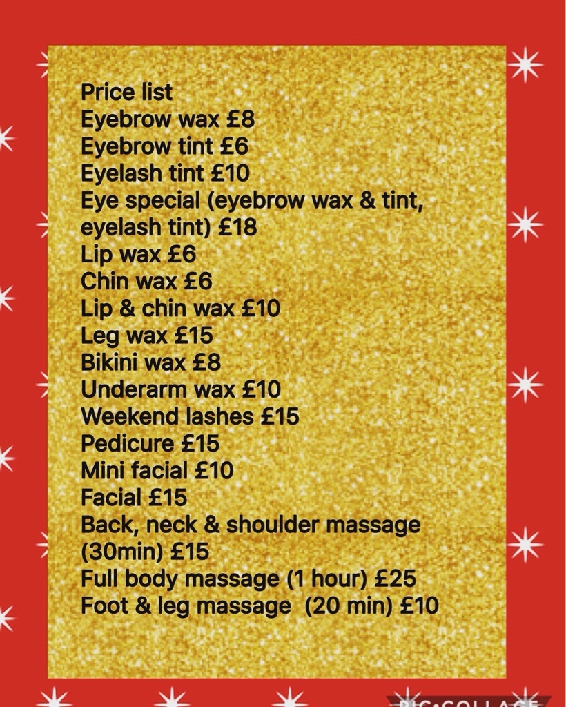Beauty price list at Glamor, Aigburth