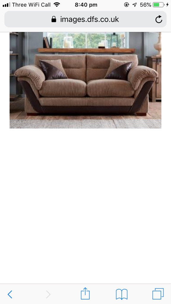 DFS Corded Brown Sofa! Two Seater and Two Chairs