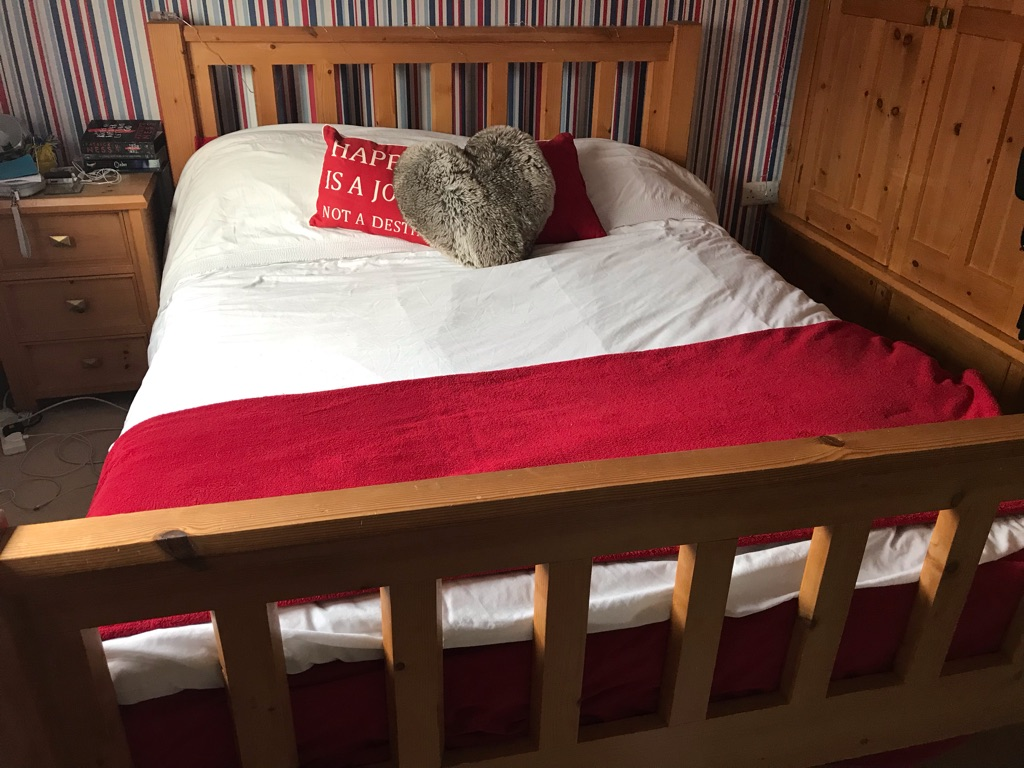 Queen sized pine double bed