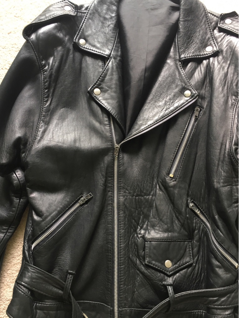 Men's black leather biker belted jacket -size S/M
