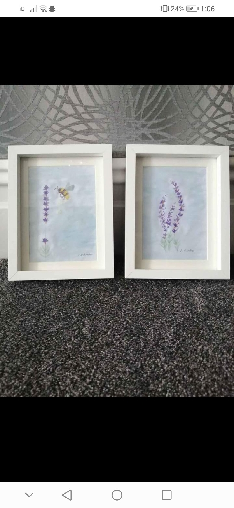 X2 Hand painted delicate paintings