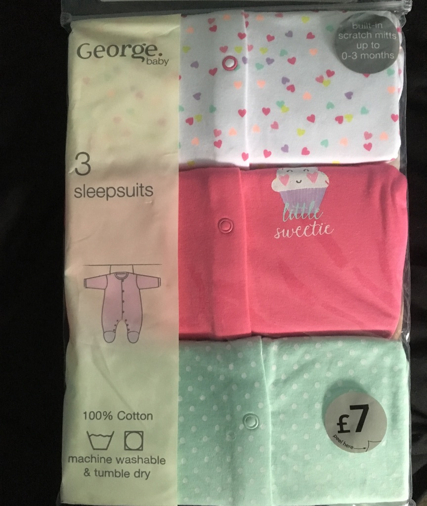 Pack of 3 girls sleepsuits size 0-3