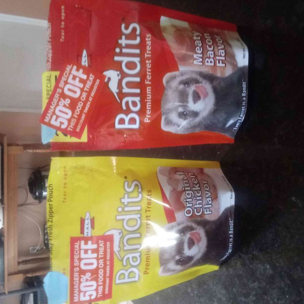 2 bags of ferret treats, bacon and chicken flavored