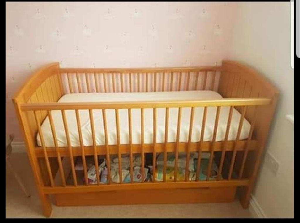 Mamas and Papas cot bed mattress under the bed draw and chest of draws