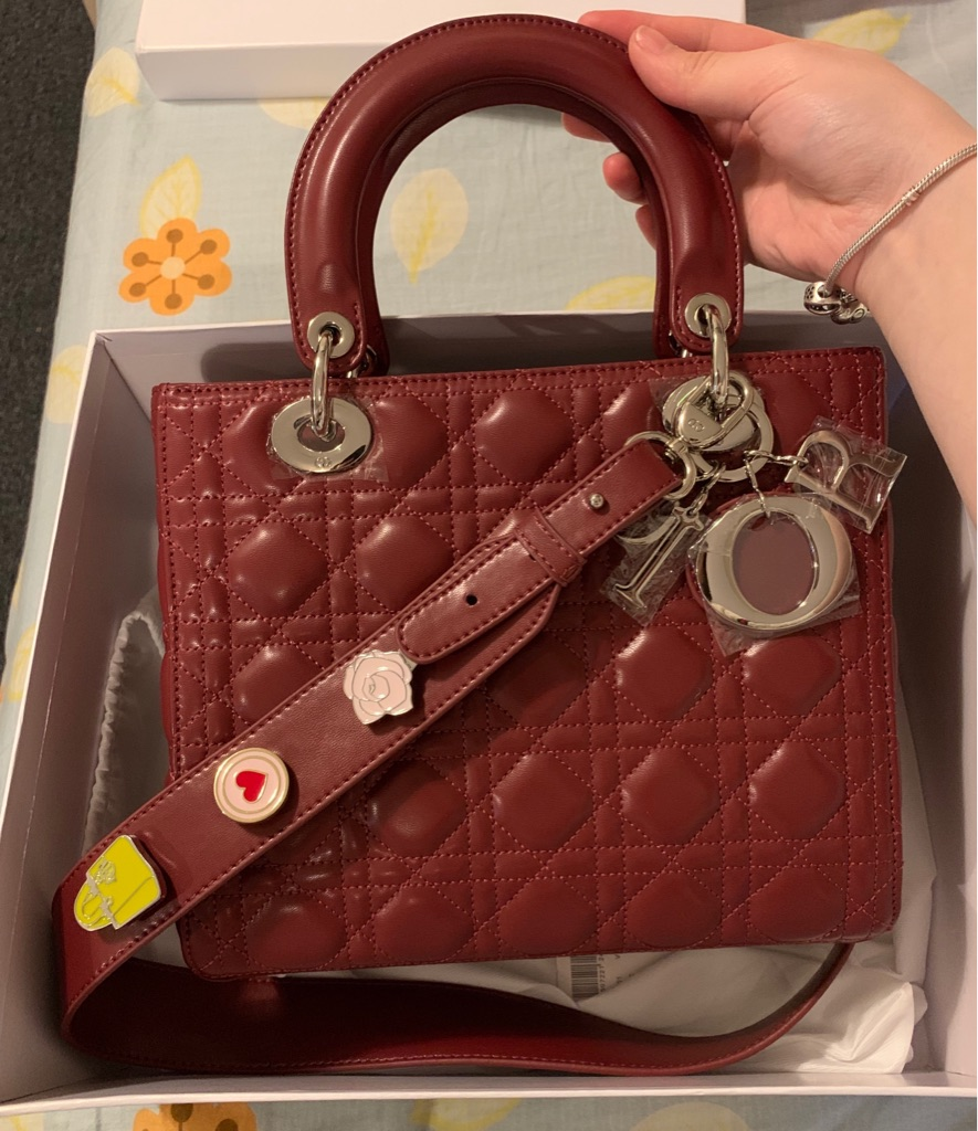 Dior lady handbag wine red