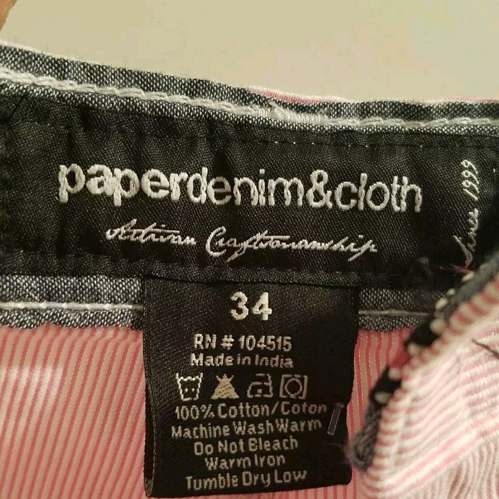 "Paper Denim & Cloth Shorts Style Du12 Teal Stripes Mens 34 (inseam 11"")"