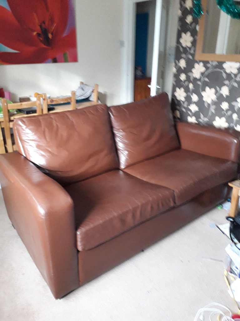NEXT large brown leather sofa