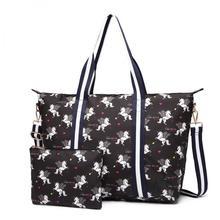 Black Matt oilcloth unicorn print overnight/luggage bag