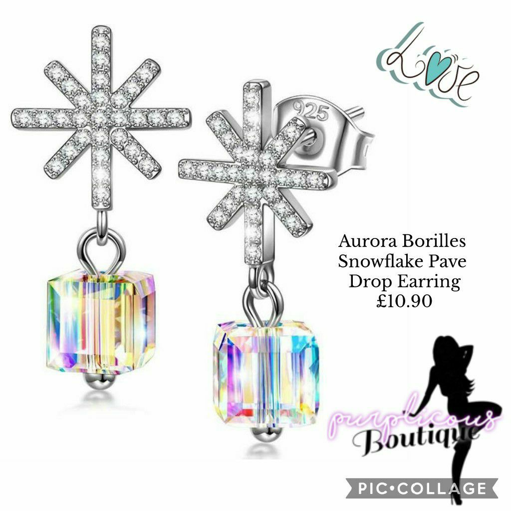 Aurora Borilles Snowflake Pave Drop Earring