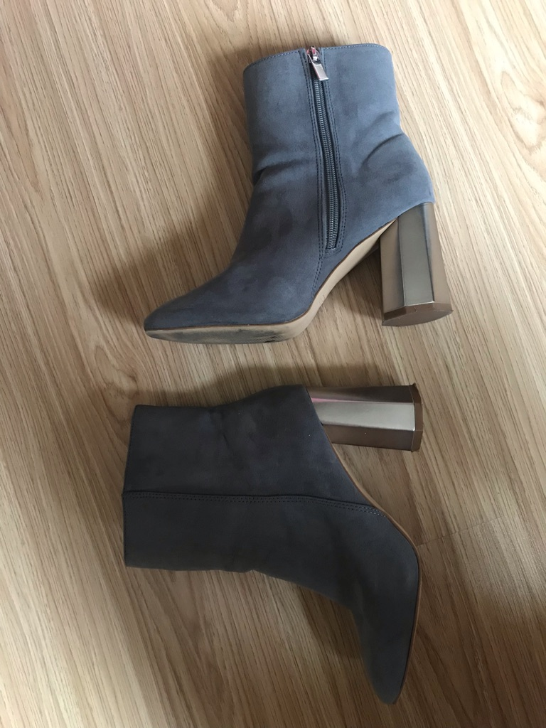 Grey Boots with Metallic silver heels (Size 5)