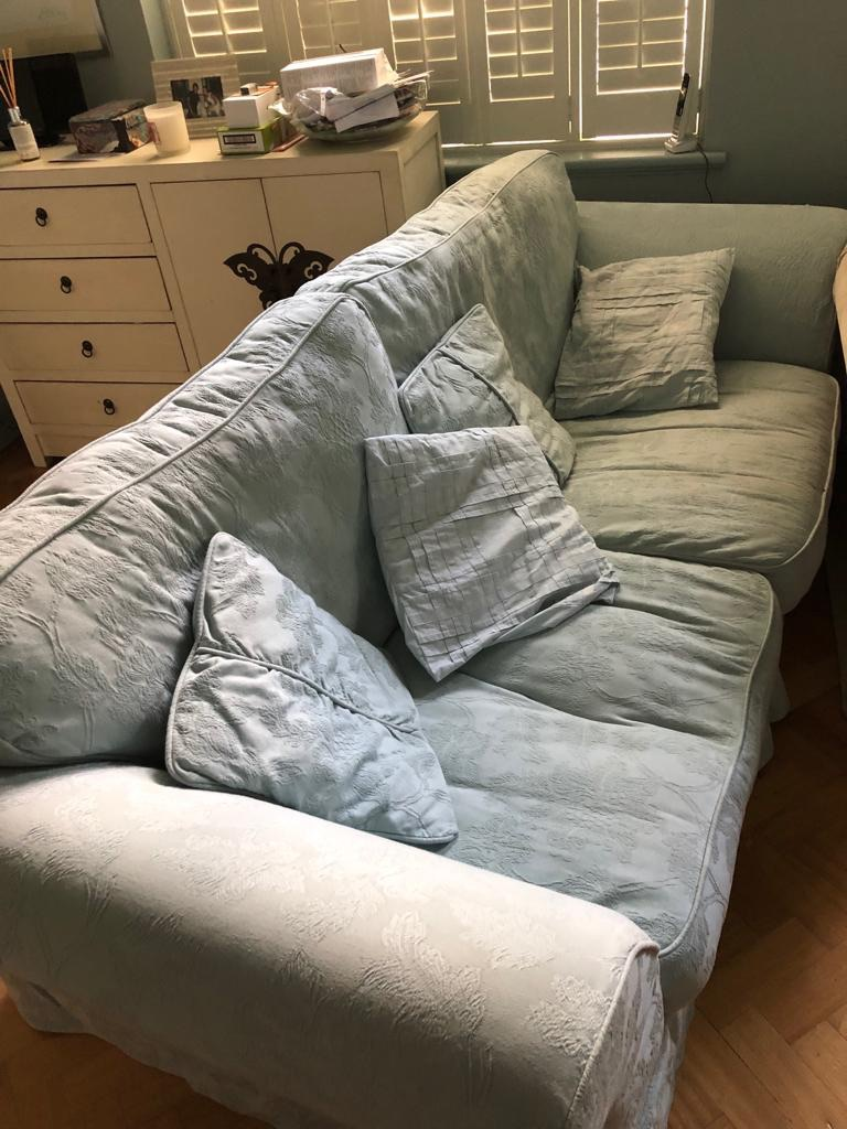 Duck egg blue 3 seater sofa and pouf