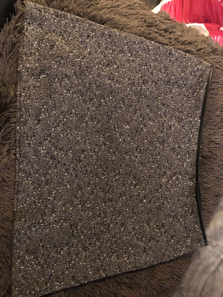 OASIS Size Large Grey Speckled Zip Skirt