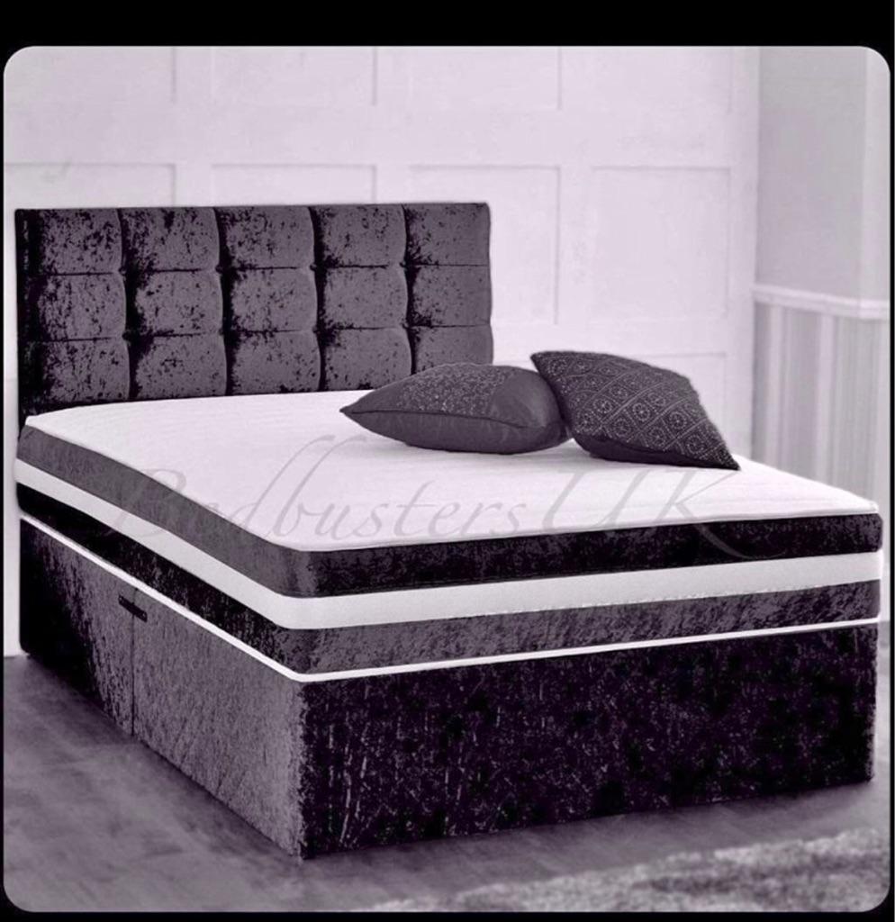 Black velvet double bed