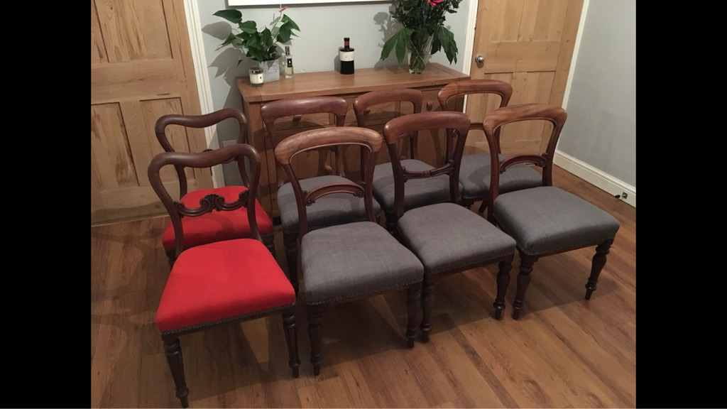 Victorian reupholstered dining chairs x 8