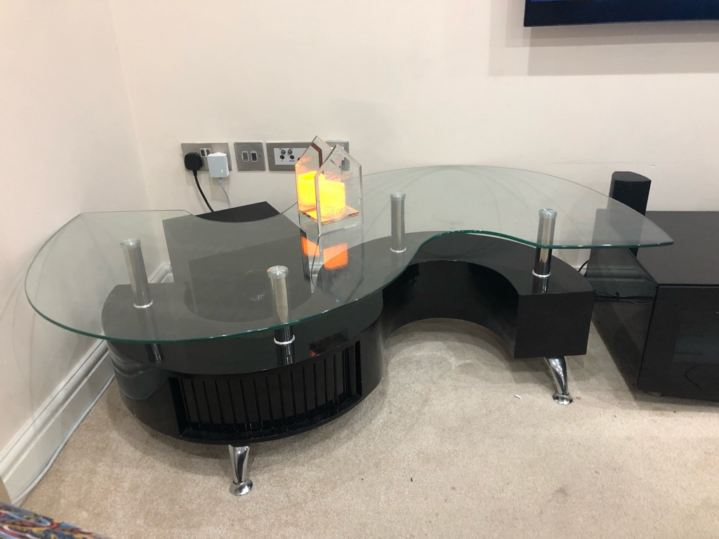 Krista clear high gloss coffee table