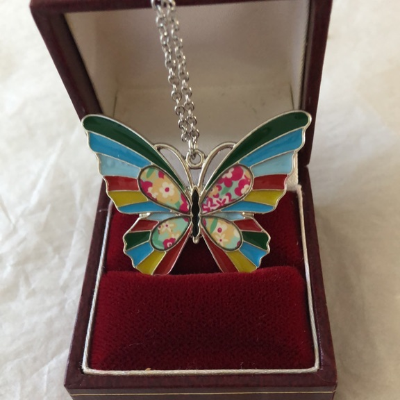Multi coloured butterfly pendant and 18inch chain