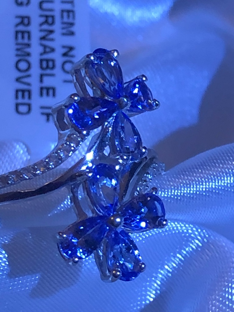 Womans Tanzanite Flower  Natural Cambodian Zircon Ring Size O Sterling Silver 925 new