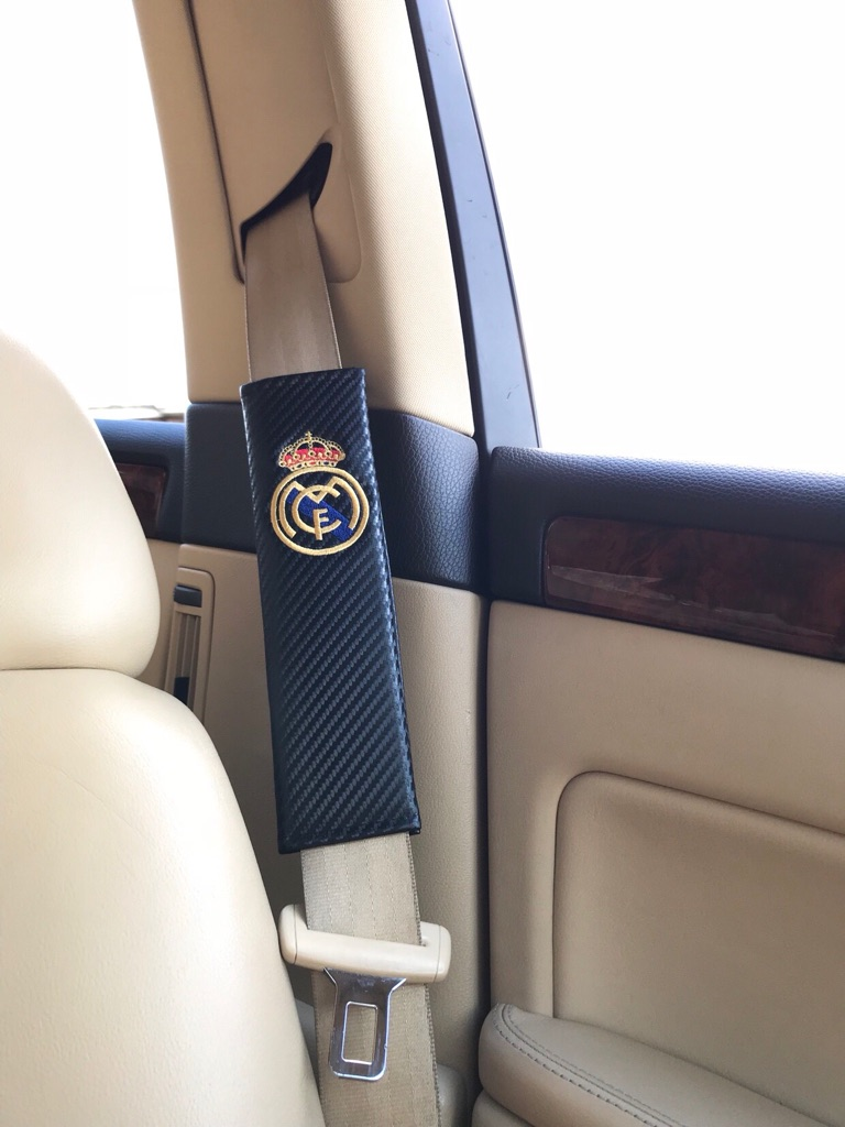 Stupendous 2X Seat Belt Pads Carbon Gift Spain Real Madrid Football Team Cup Stadium Beatyapartments Chair Design Images Beatyapartmentscom