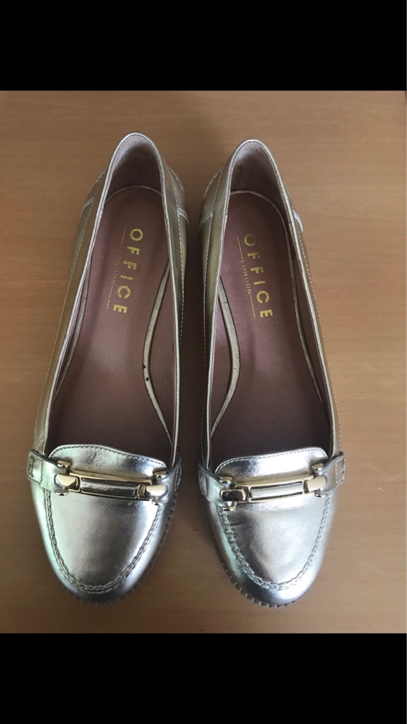 Brand new gold leather ladies loafers size 6