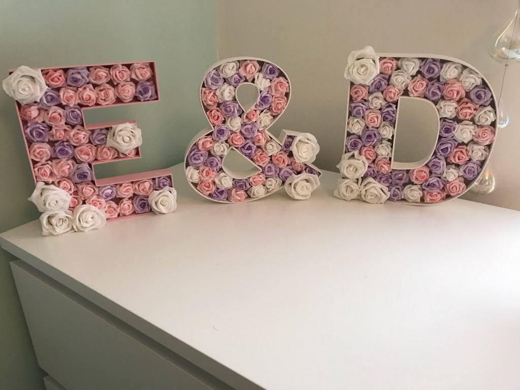 Bespoke Floral Letters & Designs, wedding, christening, new baby, birthday