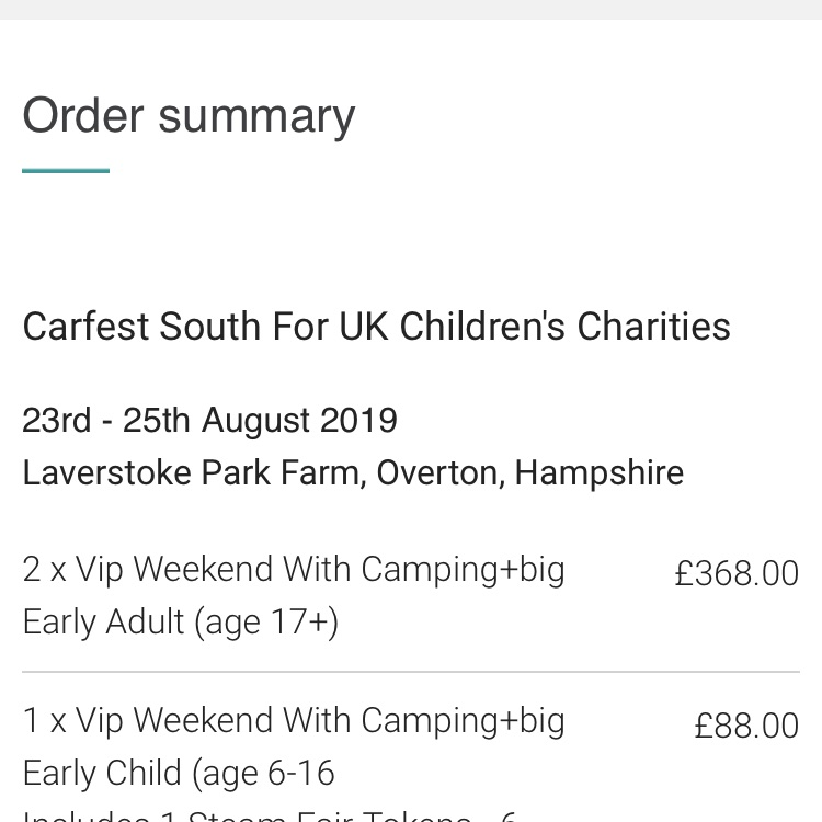 Carfest South VIP weekend Camping with Big Early