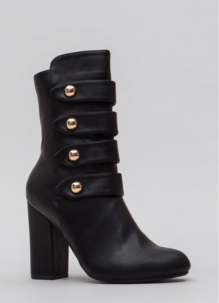Strappy Studded Booties Black
