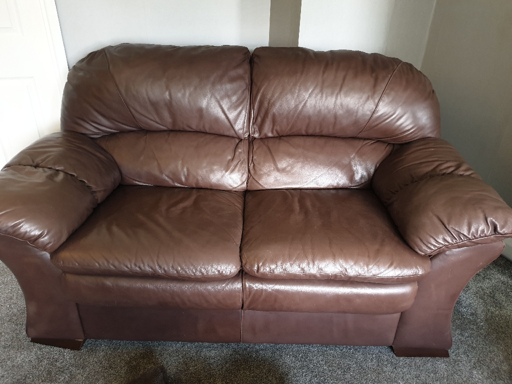 2 & 3 seater real leather sofa