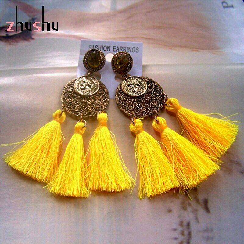 Antique Goldtone w/Yellow Tassels Post Earrings
