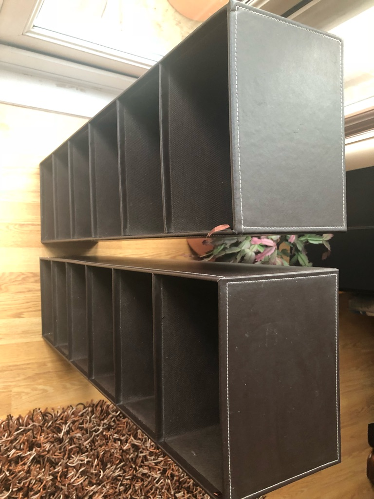 Leather Brown Twin Shelves Brilliant Condition