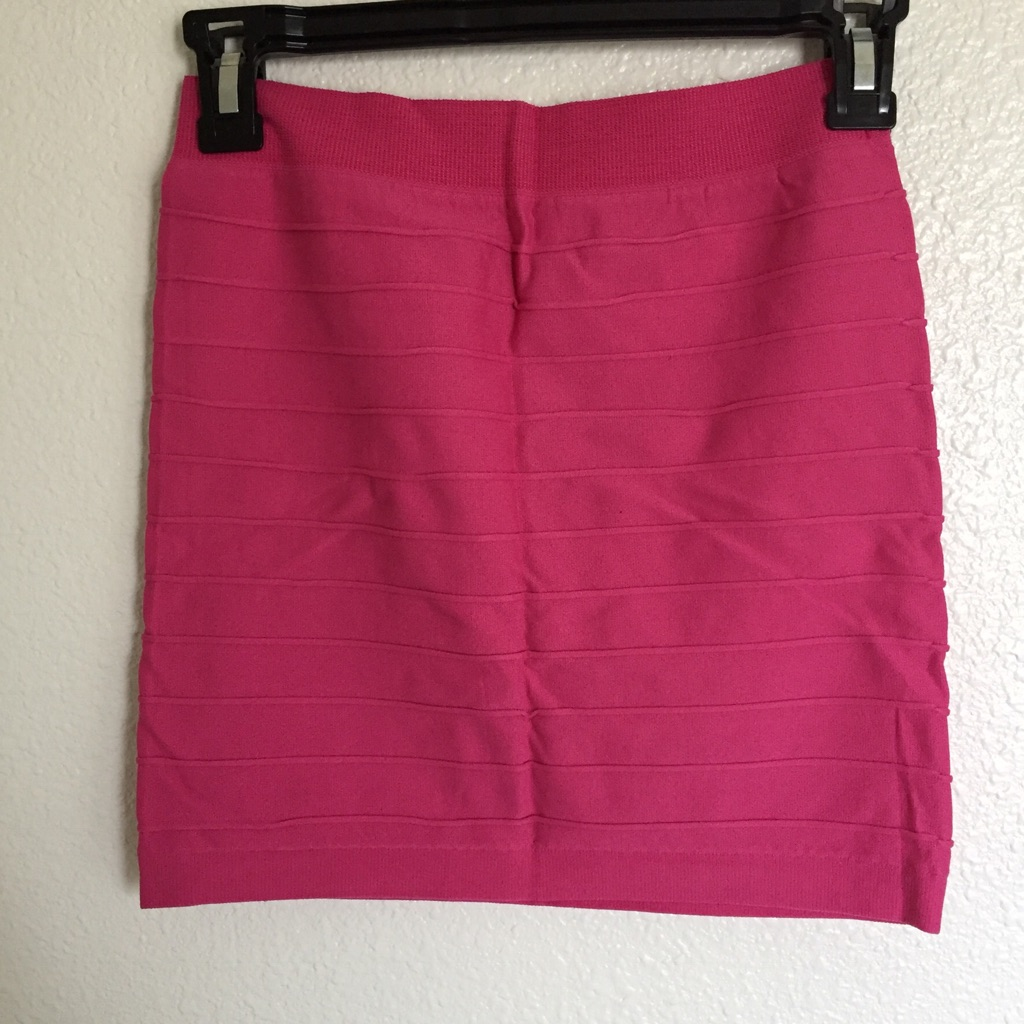 Pink stretch to fit mini skirt