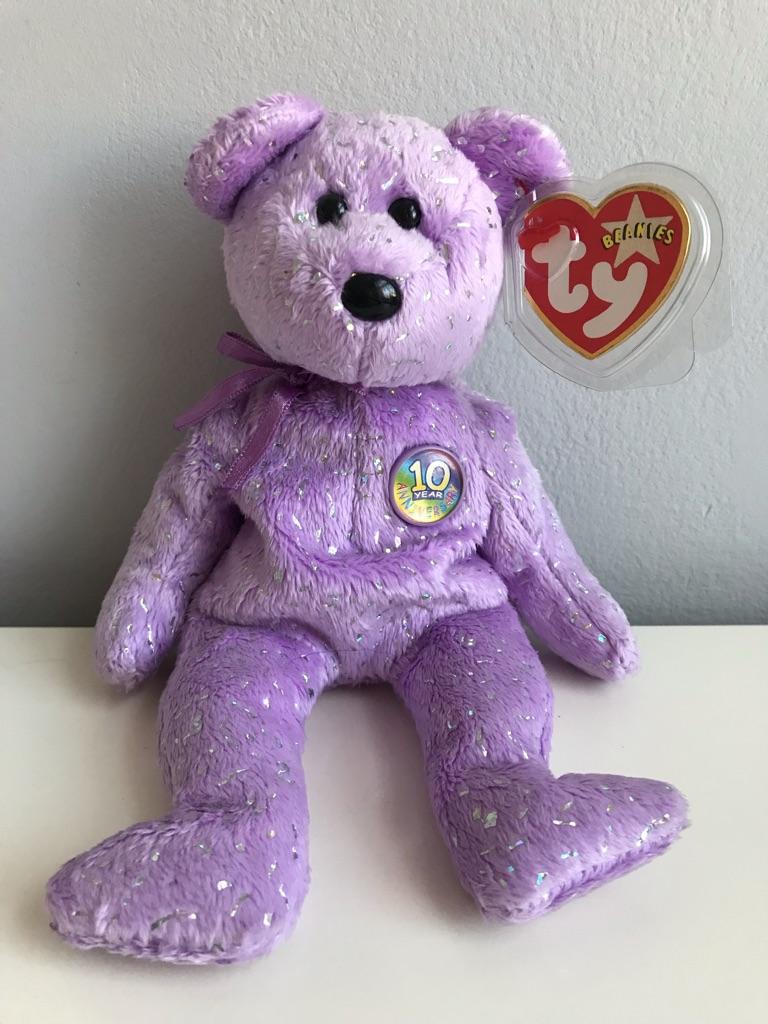 TY Beanie Bear - Decade (Purple Version)