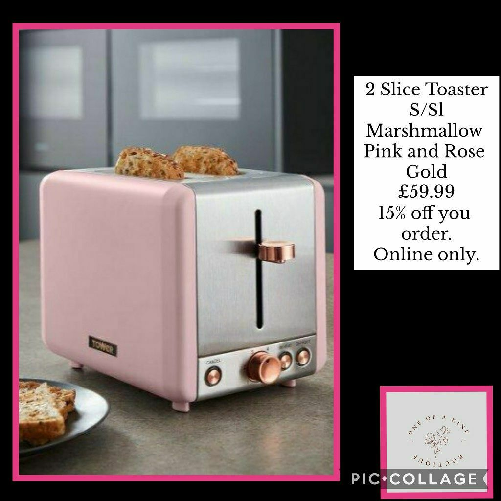 💥2 Slice Toaster S/Sl Marshmallow Pink and Rose Gold 💥£59.99 🚛free postage.🚛