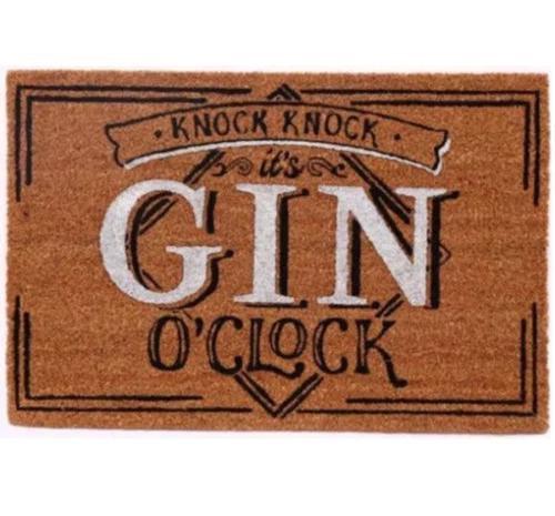 Door mat 'knock knock it's gin O'clock'