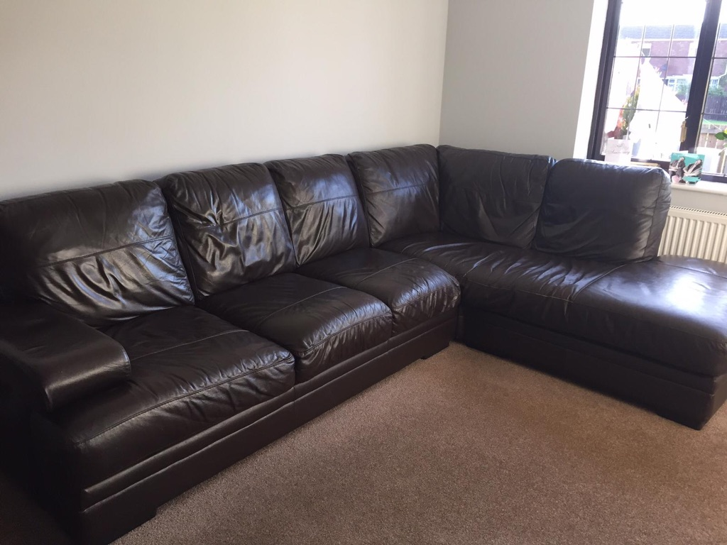 Brown leather right hand corner sofa