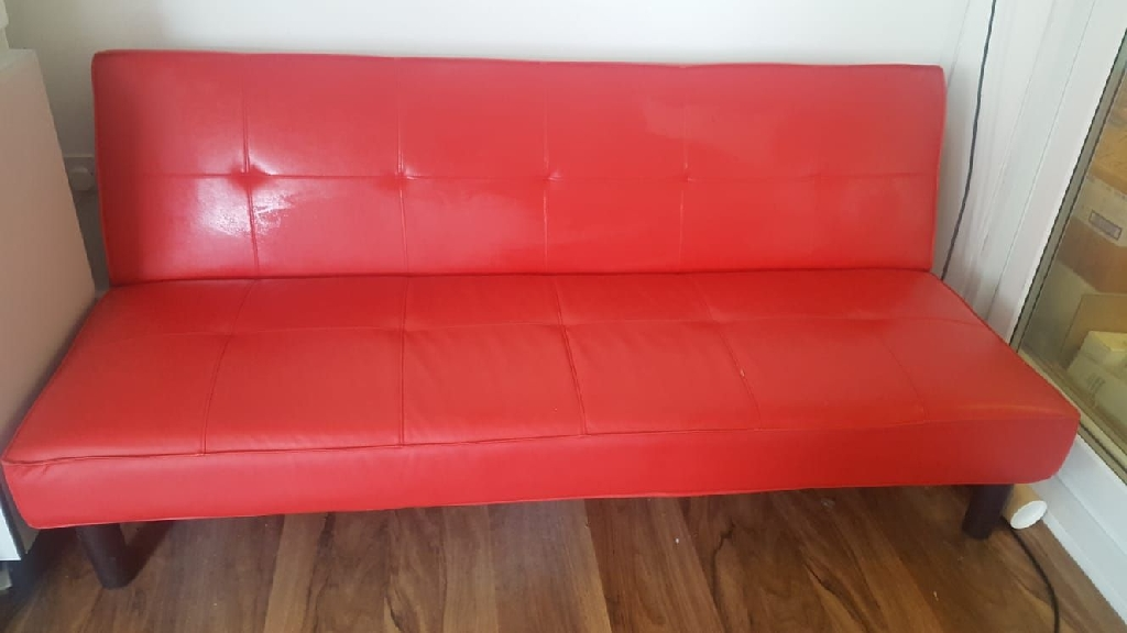 Red Faux Leather Sofa Bed - Very Good Condition